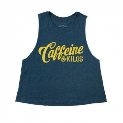 Training crop top script blue for women - CAFFEINE AND KILOS