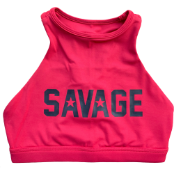 Brassière sport rouge HIGH NECK RED SAVAGE