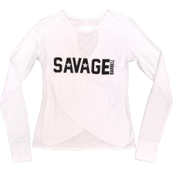 Tshirt long croisé femme blanc STORMY WHITE pour athlète by SAVAGE BARBELL
