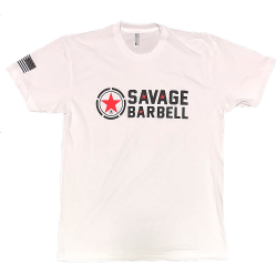 T-shirt Homme blanc classic SAVAGE BARBELL