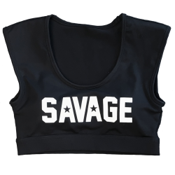 Brassière sport noire CROP TEE SPORT BRA pour athlète by SAVAGE BARBELL