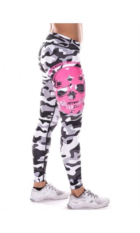 Boutique Legging Femme sport- Gris camo pink Skull