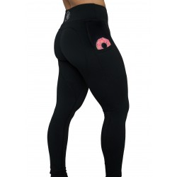 "Legging femme noir ""Is it a donut in your pocket ?"" pour athlète by FEED ME FIGHT ME"