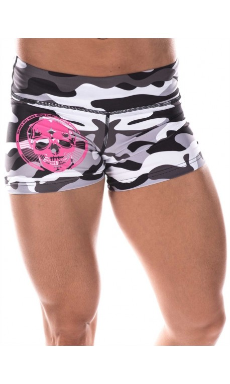 Boutique Short Femme Athlète - Gris camo pink skull
