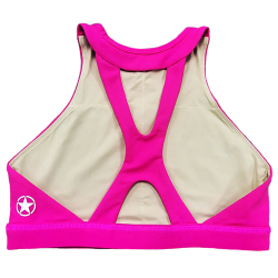 Training bra pink HIGH NECK ATOMIC RASPBERRY for women - SAVAGE BARBELL