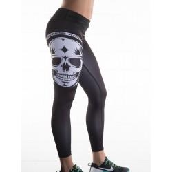 Boutique Legging noir Femme sport - white skull
