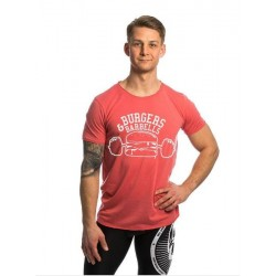 T-Shirt Raw Edge Homme rose Burger and Barbells pour Athlète by NORTHERN SPIRIT
