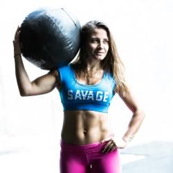 Training bra sapphire blue CROP TEE SPORT for women - SAVAGE BARBELL