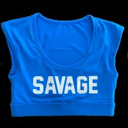 Brassière sport bleu sapphire CROP TEE SPORT BRA pour athlète by SAVAGE BARBELL