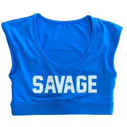 Training bra sapphire blue CROP TEE SPORT for women - SAVAGE BARBELL