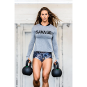 Training cross longsleeve T-shirtHEATHER GREY for women - SAVAGE BARBELL