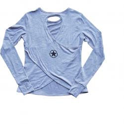 Training cross longsleeve T-shirtHEATHER GREY for women - SAVAGE BARBELL