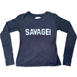 Tshirt long croisé femme BLACK pour athlète by SAVAGE BARBELL