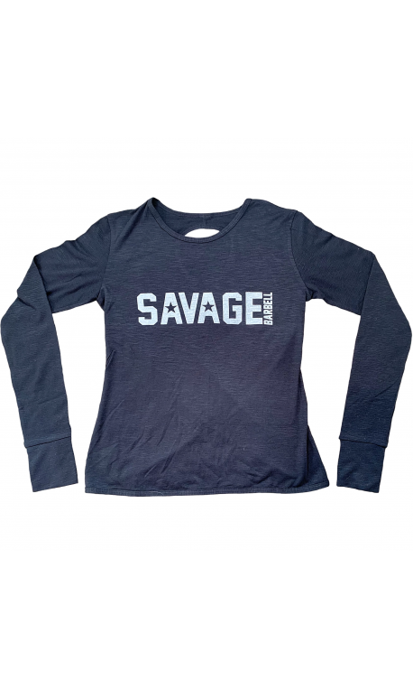 Training cross longsleeve T-shirt BLACK for women - SAVAGE BARBELL