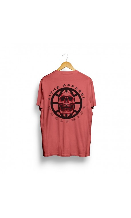 T-shirt red PSYCHO SKULL for men - LITHE APPAREL
