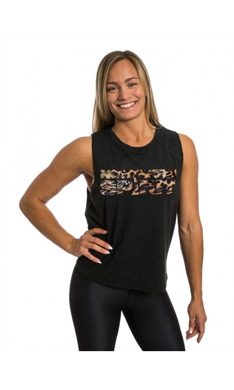 Training muscle tank black LEOPARD NS for women - NORTHERN SPIRIT