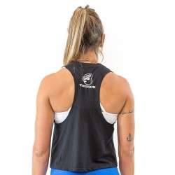 Crop top muscle tank femme noir pour athlète by THORUS WEAR
