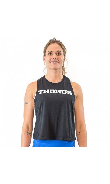 Training crop top muscle tank black for women - THORUS WEAR