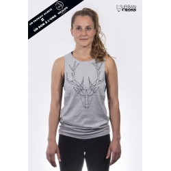 Training muscle tank light grey POLYGON DEER for women - URBAN CROSS
