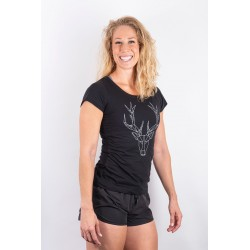 Training t-shirt black POLYGON DEER for women - URBAN CROSS