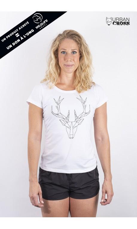 Training t-shirt white POLYGON DEER for women - URBAN CROSS