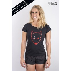 Training t-shirt black SCARED WOLF for women - URBAN CROSS
