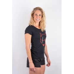 Training t-shirt black SCARED WOLF for women - URBAN CROSS