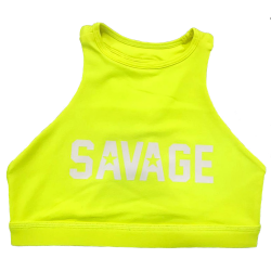 Brassière sport jaune HIGH NECK GLOW STICK pour athlète by SAVAGE BARBELL