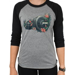 T-Shirt manches 3/4 unisexe gris/noir FLORA. FAUNA. FITNESS.| PROJECT X