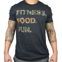 T-Shirt homme gris FITNESS. FOOD. FUN. | PROJECT X
