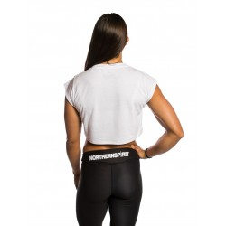 Training crop top white LEOPARD NS for women | NORTHERN SPIRIT