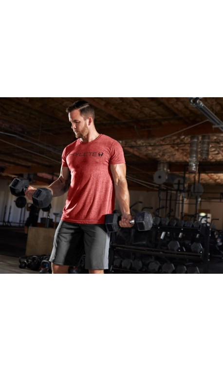 T-Shirt Homme Rouge TRIBLEND CREW VINTAGE RED BLACK   ROKFIT
