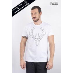 T-Shirt Homme Blanc CERF POLYGONE | URBAN CROSS