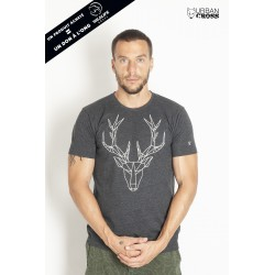T-Shirt Homme Gris foncé CERF POLYGONE | URBAN CROSS