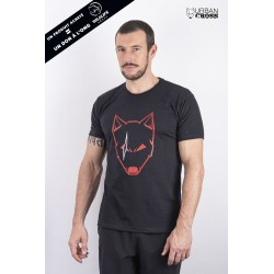 Training T-Shirt black SCARED WOLF red for men | URBAN CROSS