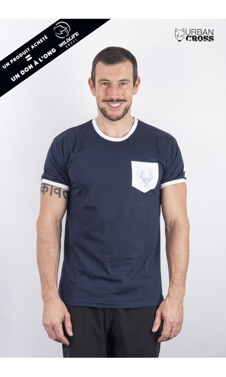 Training t-shirt blue white pocket POLYGON DEER | URBAN CROSS