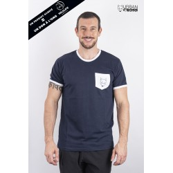 Training t-shirt blue white pocket SCARED WOLF | URBAN CROSS