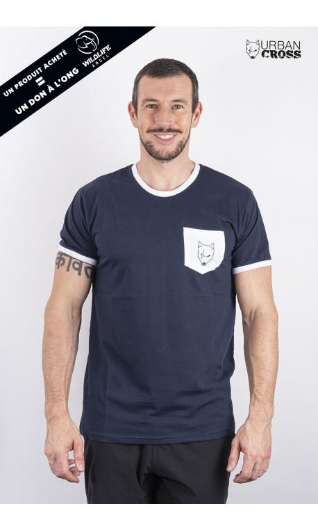 Training t-shirt blue white pocket SCARED WOLF   URBAN CROSS