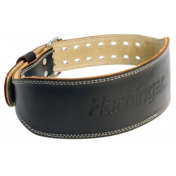 Leather Strength Belt Black 4 '' PADDED| HARBINGER