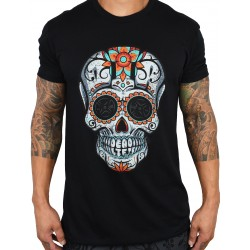 T-shirt black DIA DE LOS DEADLIFTS SCRIPT for men | PROJECT X