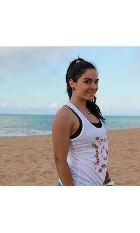 Training tank white FLORAL ICON for women | PROGENEX