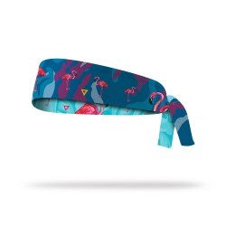 Reversible workout tie headband FLAMINGO| LITHE APPAREL