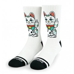Chaussettes blanches ANGRY CAT | WODABLE