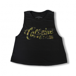 Training crop top script black TIGER CAMO for women | CAFFEINE AND KILOS