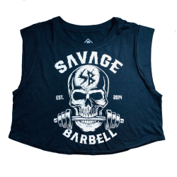 Débardeur large crop femme noir BITE ME | SAVAGE BARBELL