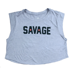Débardeur large crop femme gris KILLIN' IT | SAVAGE BARBELL