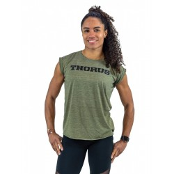 T-shirt green khaki rolled up sleeves for women   THORUS