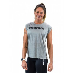 T-shirt GREY rolled up sleeves for women | THORUS