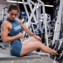 SAVAGE BARBELL Workout woman Short BLUE STEEL