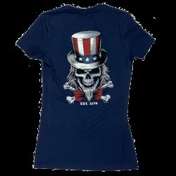 T-Shirt femme bleu UNCLE SAM   SAVAGE BARBELL